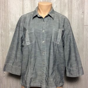 Alfred Dunner Grey Button Down Top PLUS SI…